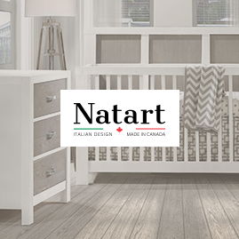 Natart logo with faded background of baby nursery featuring a white crib and 3 drawer dresser with dark brown wooden facades