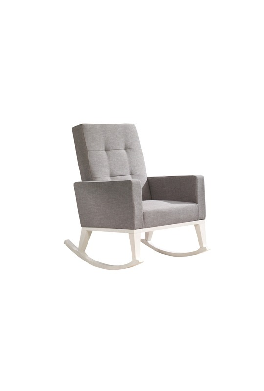 Wooden rocking chair with grey cushions and white legs