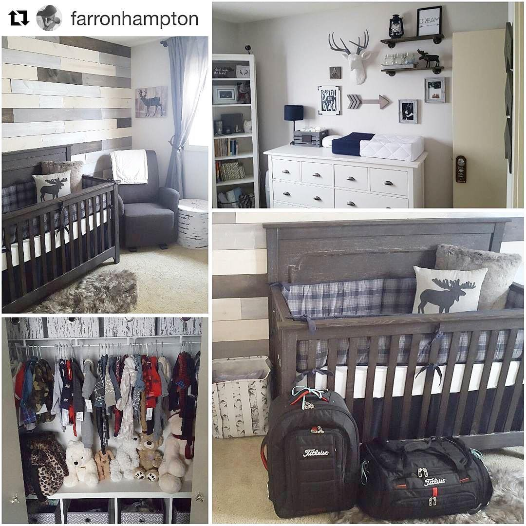 collage of four picture of a nursery, featuring changing station, dark wooden crib with moose pillow and a wood panelled wall