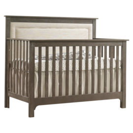 "Emerson ""5-in-1"" Convertible Crib with Linen Weave Upholstered Headboard Panel (Talc)"