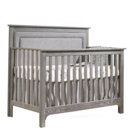 "Emerson ""5-in-1"" Convertible Crib with Linen Weave Upholstered Headboard Panel (Fog)"