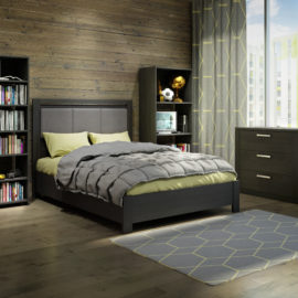 Dark bedroom with dark wooden wall, black wooden bookcases, 3 drawer dresser with a double bed with grey upholstered panel with green sheets and grey duvet