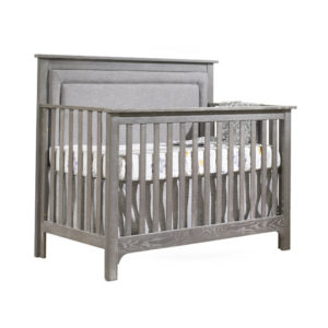 Emerson wooden 5-in-1 convertible crib with linen weave upholstered panel in grey