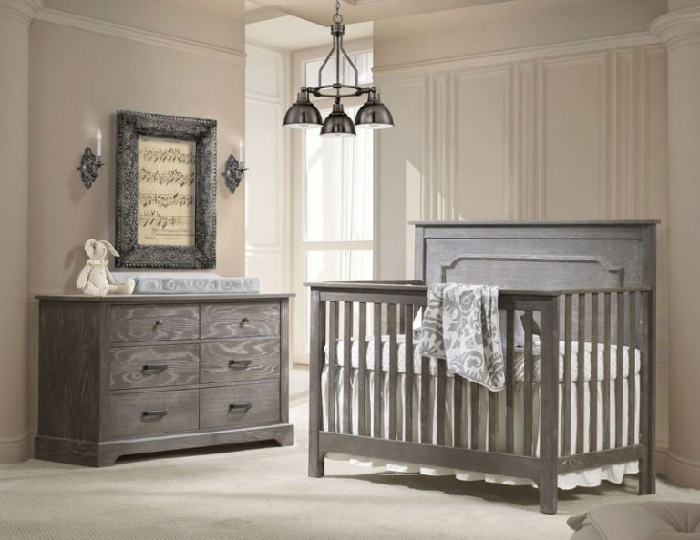 Emerson Collection - Beige Baby Room with Dark wood double dresser and crib in mink