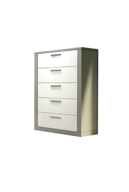 Milano 5 drawer dresser with white drawer facades