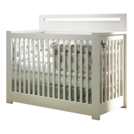 "Milano ""5-in-1"" Convertible Crib White with white and grey polka dot sheets"