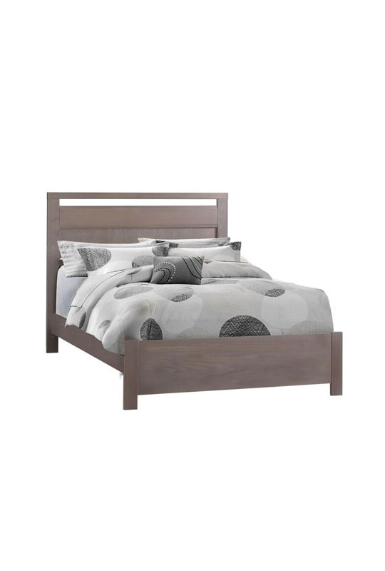 Milano dark wooden double bed with grey and black sheets