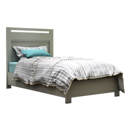 Grey sleek twin bed with striped duvet cover and blue sheets