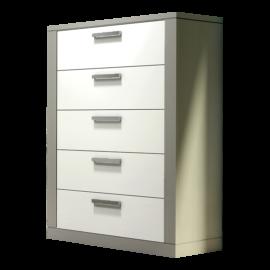 Grey 5 drawer dresser with white drawer facades