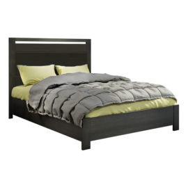 "Milano Black wooden Double Bed 54"" with green sheets and grey duvet"