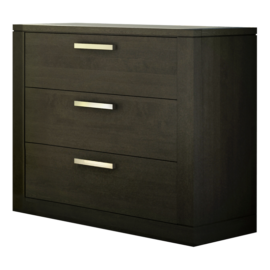 Milano black wooden 3 Drawer Dresser with metal handles