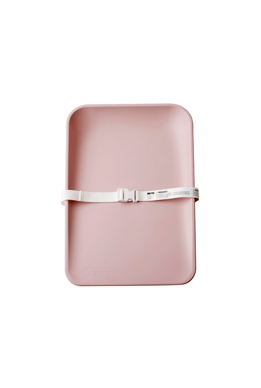 Matty changing tray in soft pink with white strap