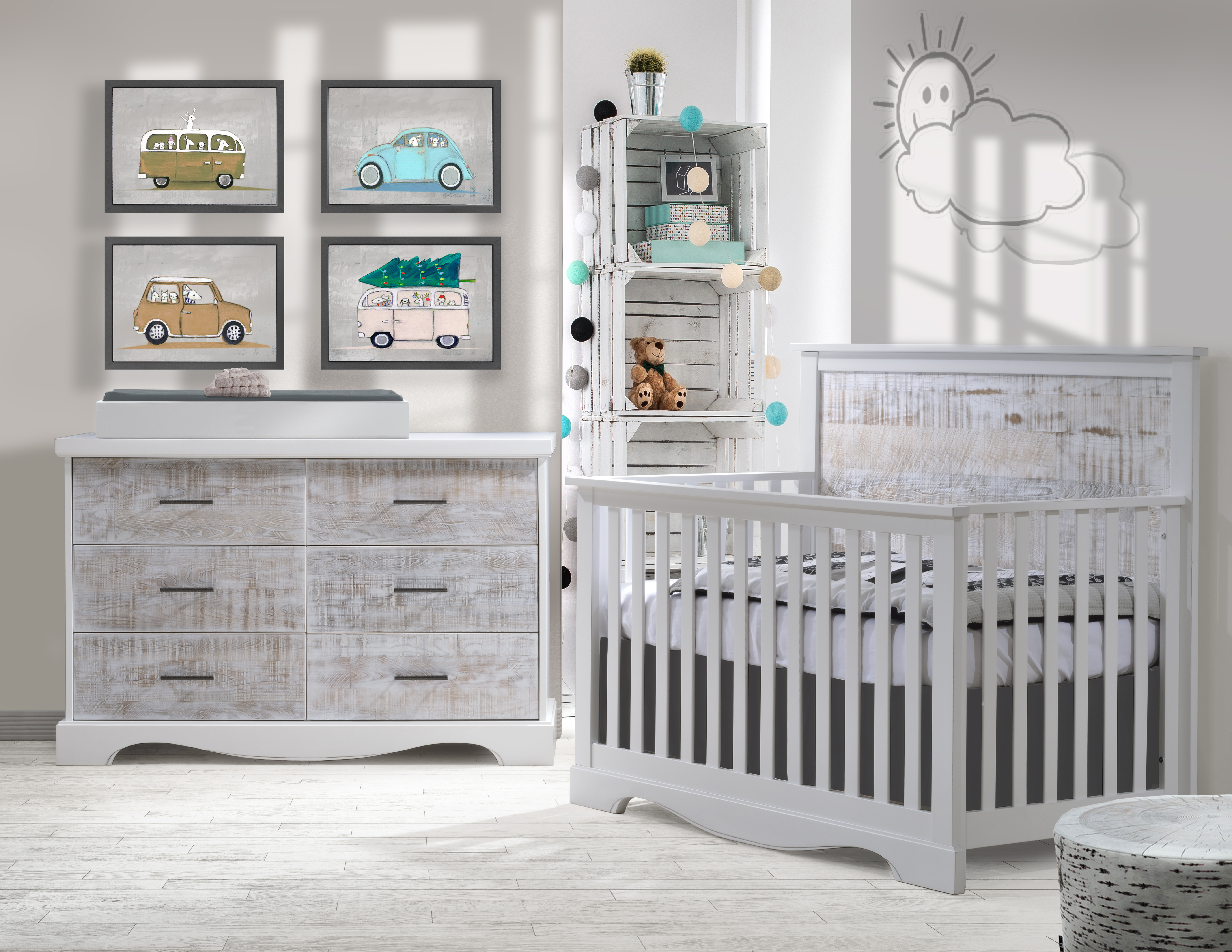 Matisse Collection   Convertible Crib U0026 Double Dresser In White With White  Bark U0026 Changing Tray In White