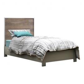 Vibe twin bed with dark bark wooden headboard