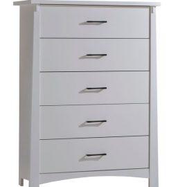 White wooden sleek 5 drawer dresser