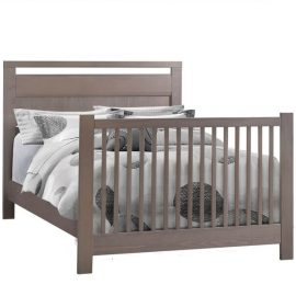 Milano dark wooden double bed with grey and white duvet