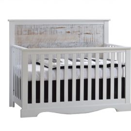 Matisse white wooden Convertible Crib with white bark headboard and black and white sheets