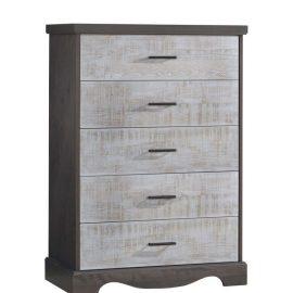 Dark wooden 5 drawer dresser with white bark drawer facades with black metallic handles
