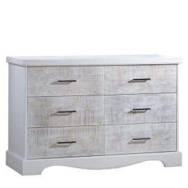 White wooden double dresser with white bark drawer facades with black metallic handles