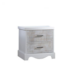White wooden nightstand with white bark drawer facades