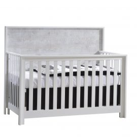 Vibe white convertible crib with wooden headboard