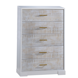 white 5 drawer dresser with white bark drawer facades with antique brass handles