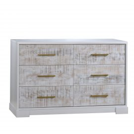 White wooden double dresser with white bark drawer facades with antique brass handles