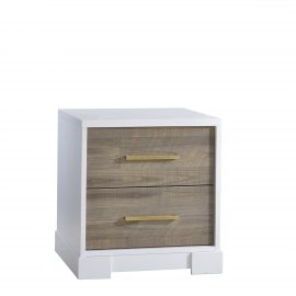 White nightstand with dark brown bark drawer facades and antique brass handles