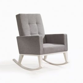 nova white wooden rocking chair with grey cushions