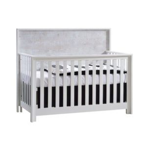 Vibe white Convertible Crib with white bark headboard