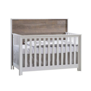 Vibe White Convertible Crib - Brown Bark headboard