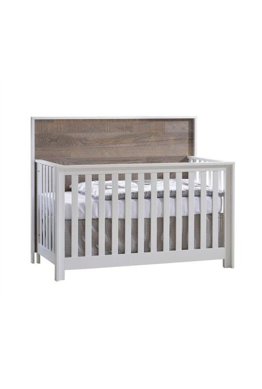 Vibe White Convertible Crib - Brown Bark headboard