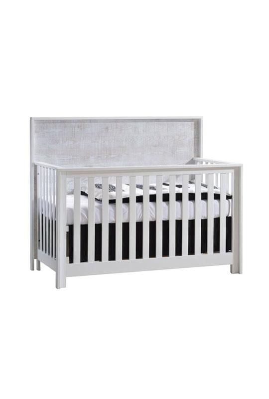 Vibe white Convertible Crib with white bark headboard