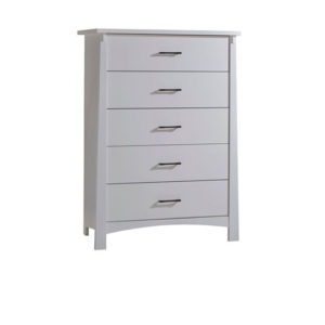 Bruges white sleek 5 drawer dresser