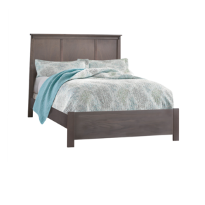 Dark Brown wood double bed with white, grey and blue sheets