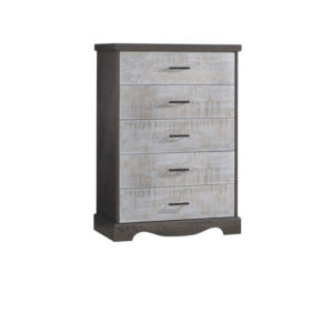 Matisse dark wood 5 drawer dresser with white bark drawer facades
