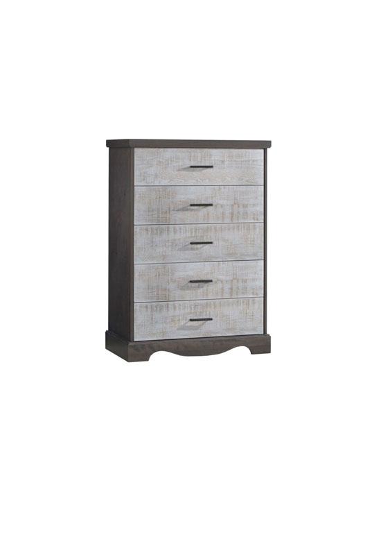 Matisse dark wood 5 drawer dresser with white bark drawer facades