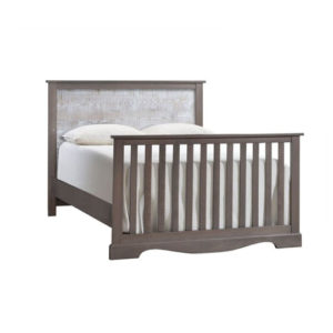 Matisse dark wooden double bed with white bark headboard