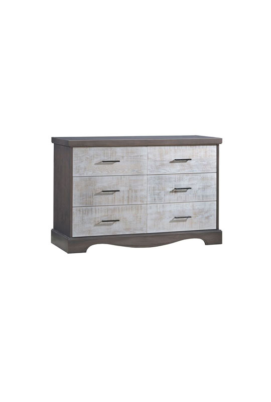 Matisse dark wood double dresser with white bark drawer facades