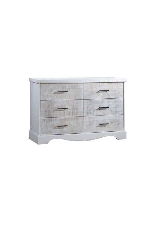Matisse white wooden double dresser with white bark drawer facades