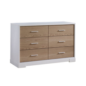 Vibe White double dresser with 6 drawers of natural oak wood facades