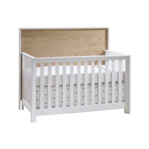 Vibe white crib with natural oak wood headboard
