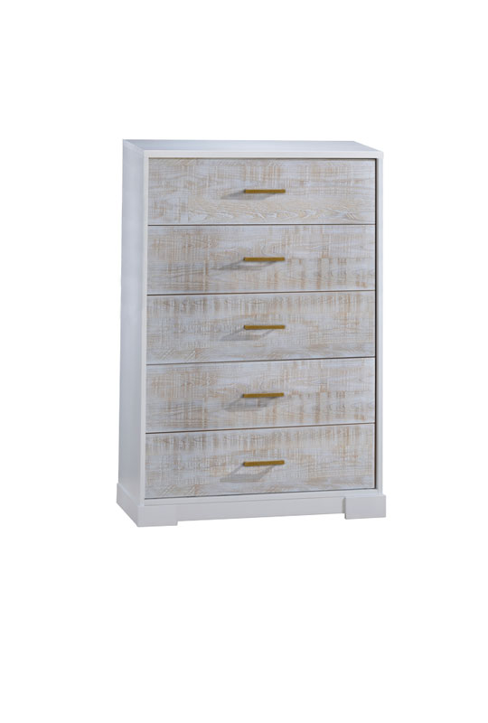 Vibe white 5 drawer dresser with white bark drawer facades and antique brass handles
