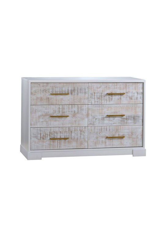 White double dresser with white bark drawer facades with antique brass handles