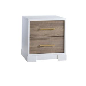 Vibe white wooden nightstand with wooden drawer facades and antique brass handles
