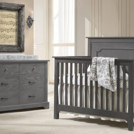 Emerson Collection - Beige Baby Room with Dark wood double dresser and crib in Grigio / cropped