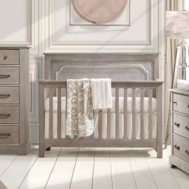 Emerson Collection Nursery - Beige Baby Room with Sugarcane double dresser and crib / cropped
