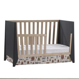 Flexx Classic Crib as daybed with toddler gate in Graphite and Natural Wheat