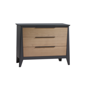 Flexx Graphite 3 drawer dresser with natural oak wood facades