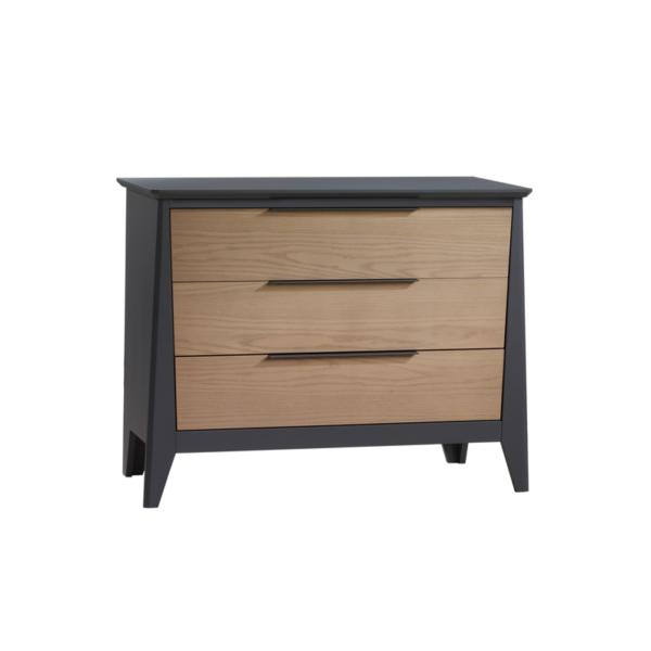 Flexx Graphite 3 drawer dresser with natural oak wood facades